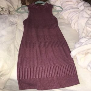 Medium length maroon sweater dress